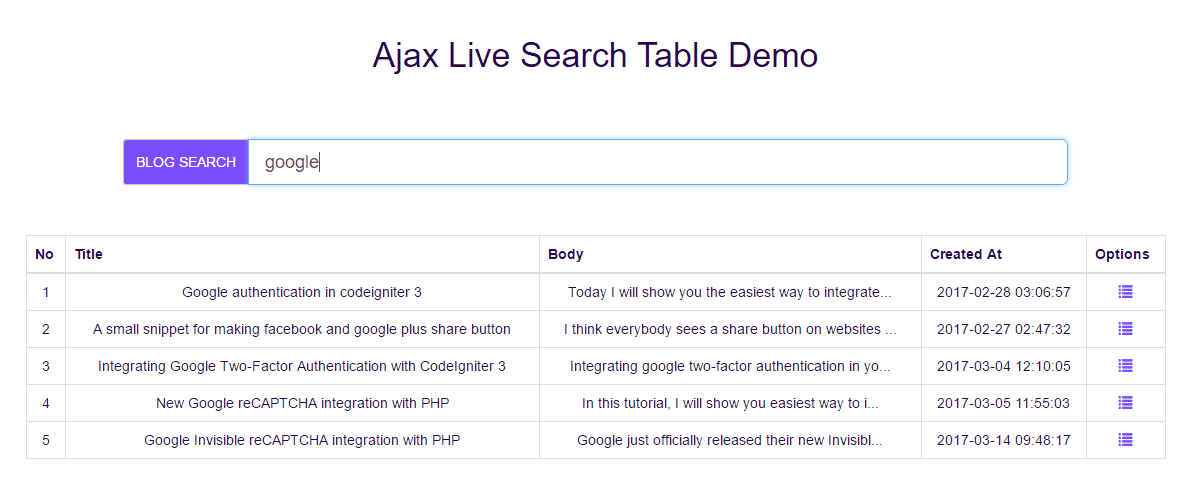Ajax Live Search Table Generation in Laravel - ShareurCodes